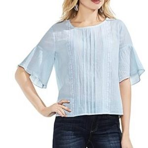 VINCE CAMUTO Embroidered Crinkle Top in Chalk Blue